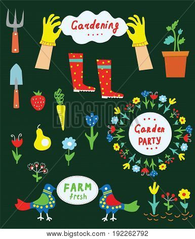 Garden tools and flowers set for gardening or garden party vector graphic illustration