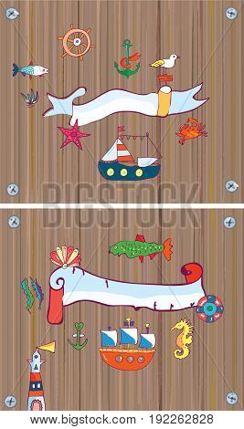 Set of sealife background with frame with nautical objects. Vector graphic illustration