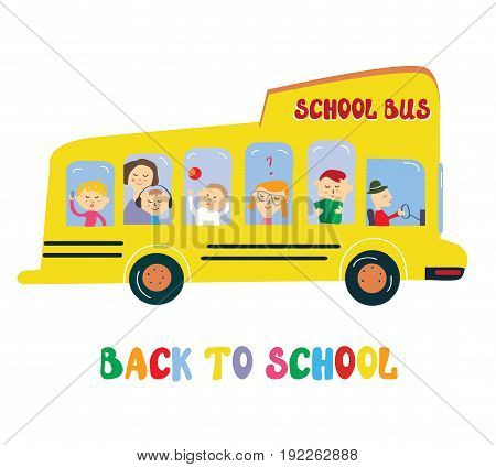 School bus with kids cartoon vector graphic illustration