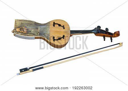 Kazakh folk musical instrument kobyz with bow isolated on white background
