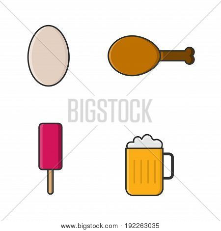 egg fried chicken beer and icecream set collection icons vector with white Background