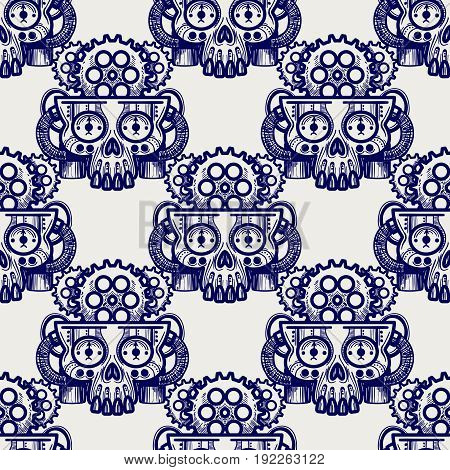 Robot skull with gears seamless pattern, vector illustration
