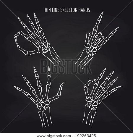 Thin line skeleton hand gestures on black background, vector illustration
