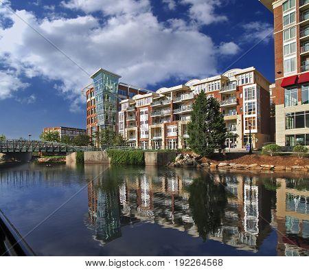 Modern Riverside Buildings in Downtown Greenville, SC