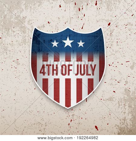 Fourth of July United States Independence Day greeting vector Banner on Concrete background with Blood Drops