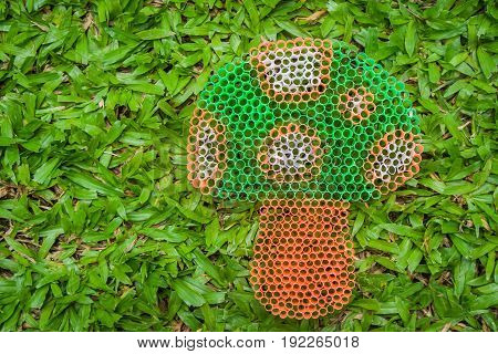 Close up colorful mushroom on green grass handmade with plastic straw.