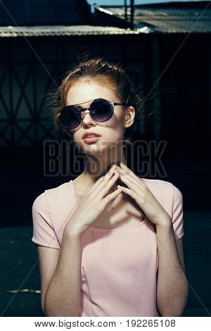 Fashion, beauty, street photography, girl in the street, girl in sunglasses.