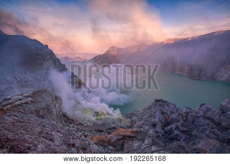Kawah Ijen Volcano Of East Java, Indonesia.
