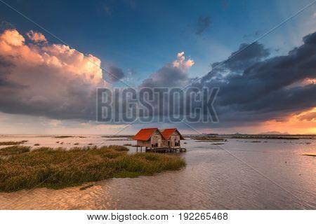 Small Wooden Hut At Chaloem Phrakiat 80 Phansa Rd., Phatthalung, Thailand