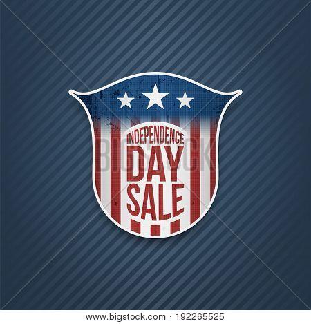 Independence Day Sale Sign on blue striped Background. Vector Illustration