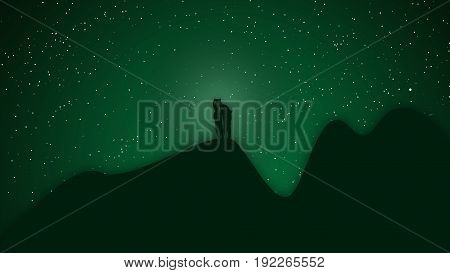 mini couple man embrace shoulder woman stand on mountain under the star and aurora light silhouette illustration
