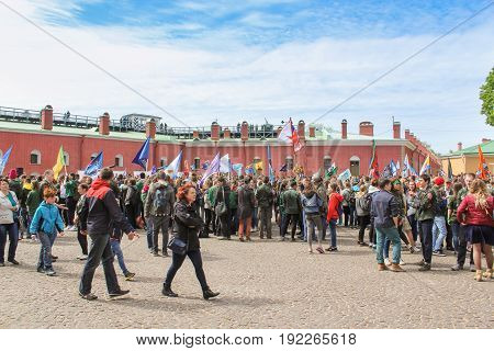 St. Petersburg Russia - 28 May, A crowd of people with flags, 28 May, 2017. Famous sightseeing places of St. Petersburg for tourists.