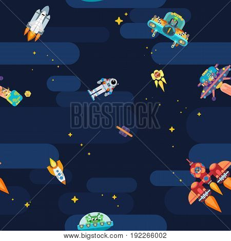 Seamless pattern on  a space theme with aliens and rocket ships
