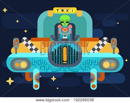 A wonderful alien  a flying saucer taxi of yellow color