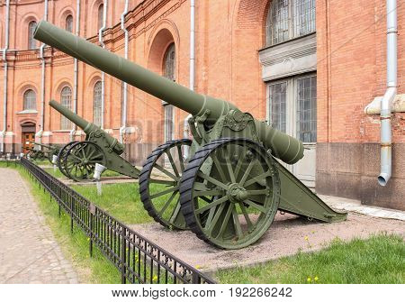 St. Petersburg Russia - 28 May, Siege gun of the 1904 model, 28 May, 2017. Military History Museum of combat equipment in St. Petersburg.