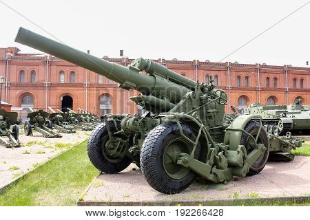 St. Petersburg Russia - 28 May, Heavy howitzer B-4M of the 1956 model, 28 May, 2017. Military History Museum of combat equipment in St. Petersburg.