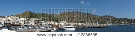 Panoramic shot of Lipari Island (harbor) - Messina - Sicily - Italy