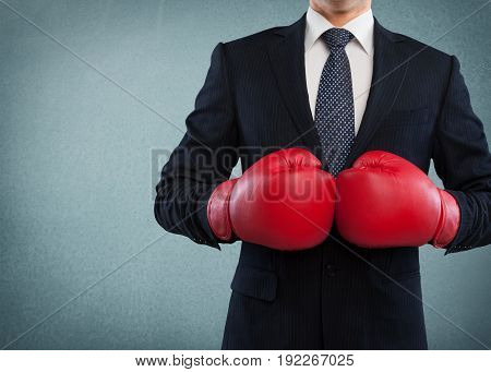Business man gloves boxing business success people man red