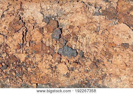 Repair of an old rusty water pipe of large diameter. Rust texture