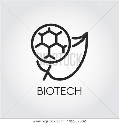 Line icon of leaf and molecule symbolizing biotech. Simplicity black emblem of biotechnology concept. Connecting science, nature and molecular chemistry theme. Vector logo