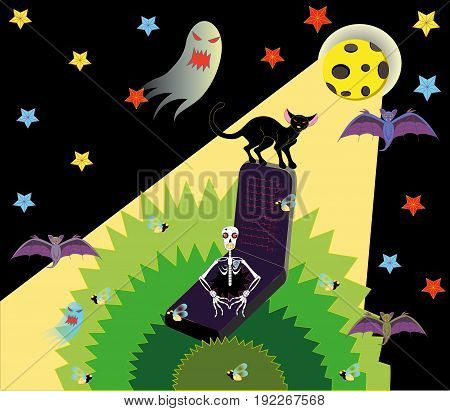 Skeleton in a grave and a black cat on a gravestone