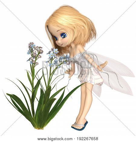 Fantasy illustration of a cute toon forget-me-not flower fairy with blonde hair, digital illustration (3d rendering)