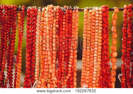 Beads From Red Corals Are Sold