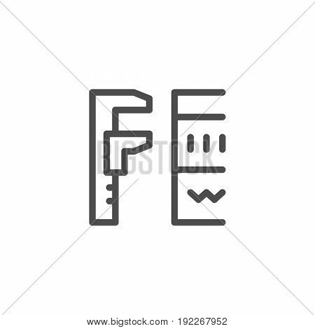 Insulation size line icon isolated on white. Vector illustration