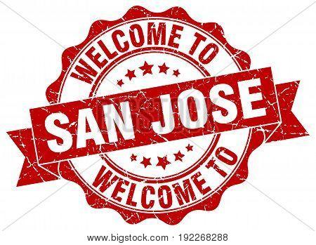 welcome to San Jose. stamp. round ribbon seal