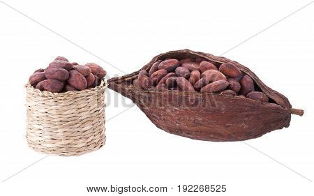 Cacao Pods And Beans In Basket Isolated On White Backgroun