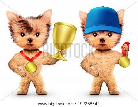 Funny dogs wearing baseball cap and holding gold medal. Concept of sport and fitness. Realistic 3D illustration.