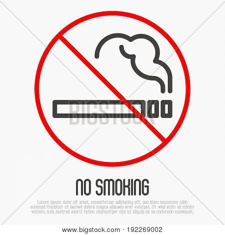 No smoking thin line sign. Vector illustration.