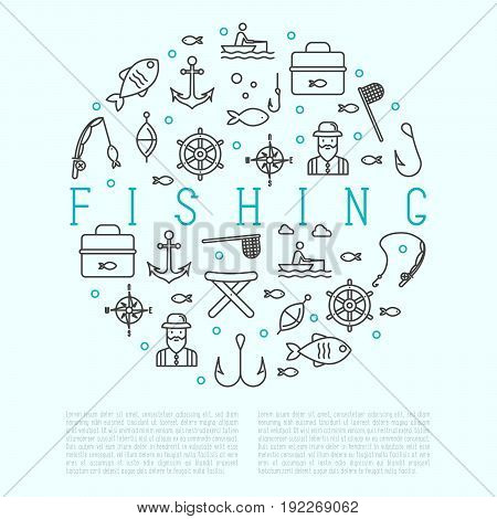 Fishing concept in circle with related thin line icons: fisherman, hooks, boat, rod. Vector illustration.