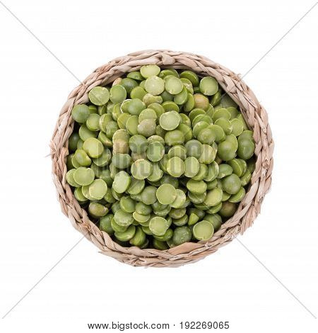 Split Green Peas In Basket Isolated On White Background