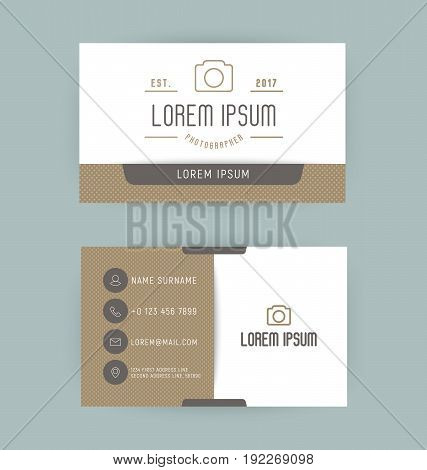 Business card with logo for photographer with thin line icon of camera. Minimalistic simple vector illustration.