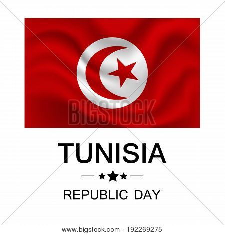Vector illustration of Republic Day Tunisia.The national red flag of Tunisia.
