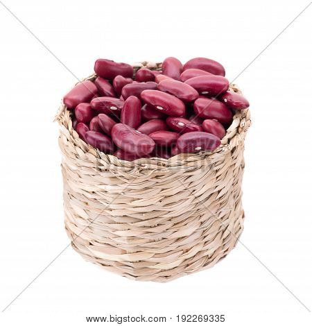 Red Bean In Basket Isolated On A White Background