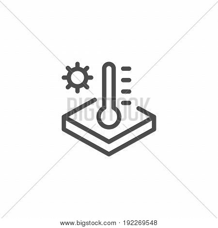 Insulation temperature line icon isolated on white. Vector illustration
