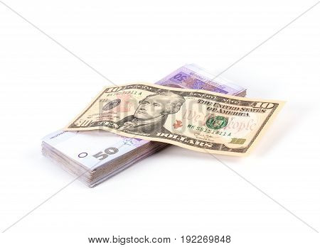 Dollar Banknote And Stack Of Ukrainian Money
