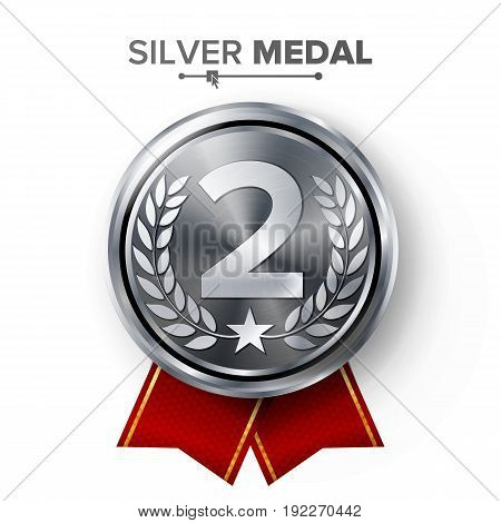 Silver 2st Place Medal Vector. Metal Realistic Badge With Second Placement Achievement. Round Label With Red Ribbon, Laurel Wreath. Winner Honor Prize.