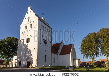 South-western view of St. Catharinæ church in Hjørring Denmark in sunlight