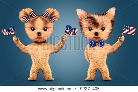 Funny animal holding USA flags and wearing bow tie. Concept of 4th of July and Independence Day, Realistic 3D illustration.