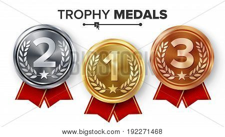 Gold, Silver, Bronze Medals Set Vector. Metal Realistic Badge With First, Second, Third Placement Achievement. Round Label With Red Ribbon. Winner Prize.