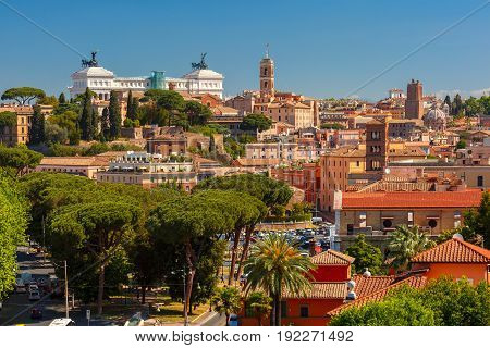 Aerial wonderful view of Rome with The Palatine Hill and Altar of the Fatherland in the summer day in Rome, Italy