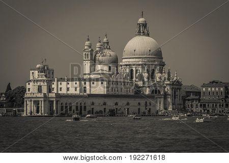 Black and white view of Basilica della Salute in Veneto, Italy