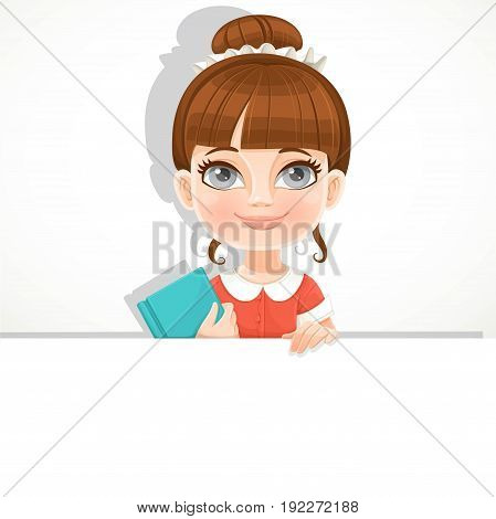 Cute girl with a school textbook holds a large white horizontal banner on a white background