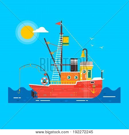 Cool flat design fishing boat seaway transportation .Fishing vessel decorative graphic design element. Flat vector illustration