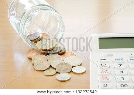 Savings Jar and Coins, calculator, money, currency
