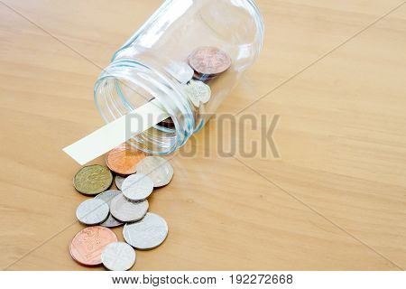 Money jar for savings, background, currency, coins