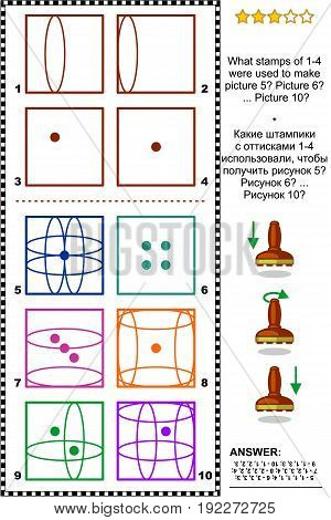 IQ training abstract visual puzzle: What stamps of 1-4 were used to make picture 5? Picture 6? ... Picture 10? Answer included.
